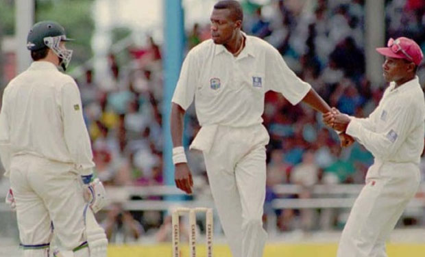 On-field altercations: Former West Indies bowler Curtly Ambrose - a batsman's nightmare during his heydays - being dragged away by then captain Richie Richardson, from Australian batsman Steve Waugh. (Photo: AP)