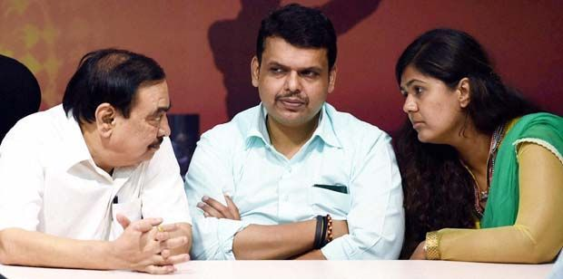 BJP leaders Eknath Khadse, Devendra Fadnavis and Pankaja Munde are in the race for the CM post. (Photo: PTI)