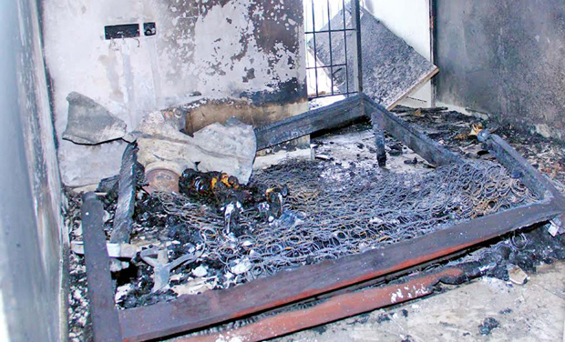 A view of the apartment which caught fire after a gas cylinder explosion and killed a 35-year-old woman and her minor daughter at Edapally on Saturday.