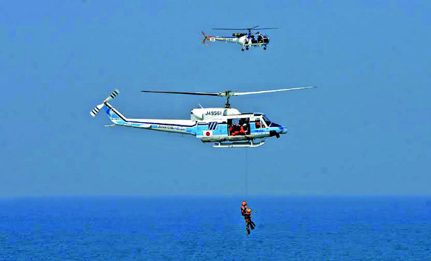 A scene from the joint exercise by the Coast Guards of India and Japan off Kochi on Tuesday.  DC
