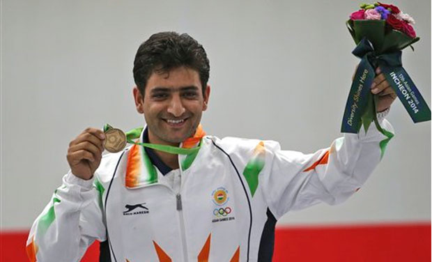 Chain Singh won a bronze medal in the men's 50m shot final at the 17th Asian Games in Incheon, South Korea. Photo: AP