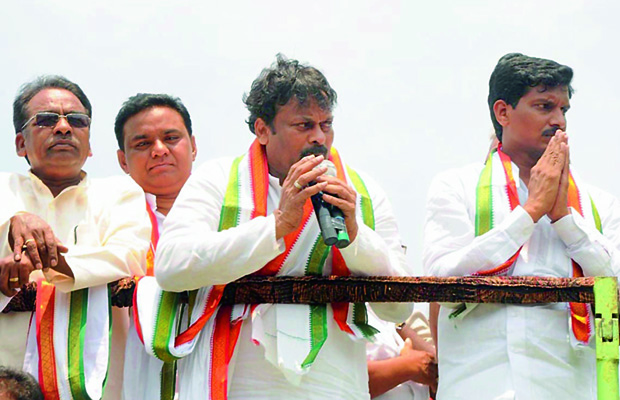 PCC election campaign committee chairman K Chiranjeevi speaks during his roadshow at Mangalagiri in Guntur district on Sunday. (Photo: Deccan Chronicle)