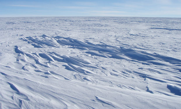 In this image provided by the National Snow and Ice Data Center, sastrugi stick out from the snow surface in this photo near Plateau Station in East Antarctica in 2008. Most of Antarctica looks quite flat, despite the subtle domes, hills, and