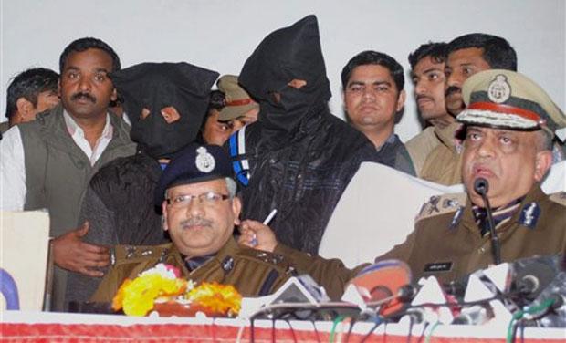 Uttar Pradesh DGP A K Jain (extreme right) addresses media. (Photo: AP)