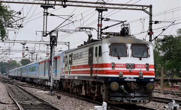 A high speed New Delhi Agra test train leaves New Delhi station on Thursday. The train is expected to reach a speed of 160 kmph (Photo: PTI/AP)