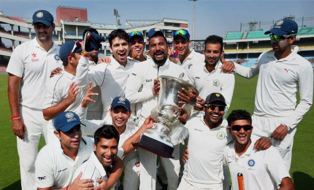 Central Zone players celebrate after beating South Zone in Duleep Trophy in 2014 season. (Photo: PTI)