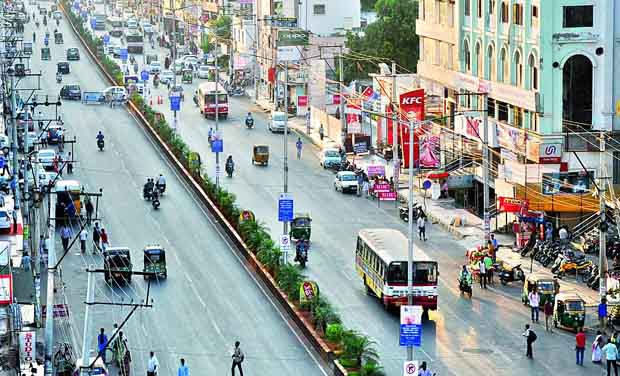 Though Golden Mile Project is in the offing for the upkeep of the MG Road in Vijayawada, people feel that zebra crossngs and footpaths are to be provided.