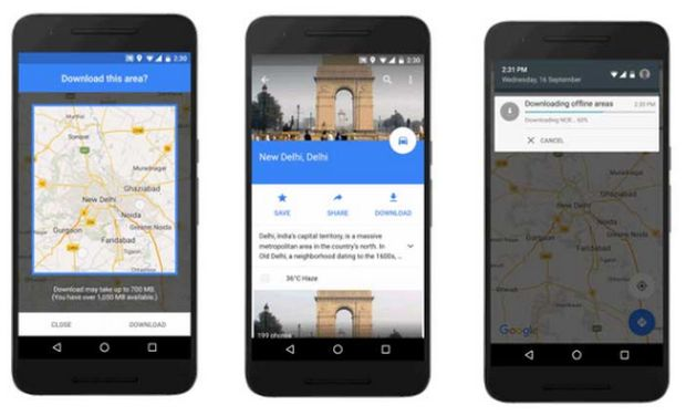 Google maps are now also available offline on