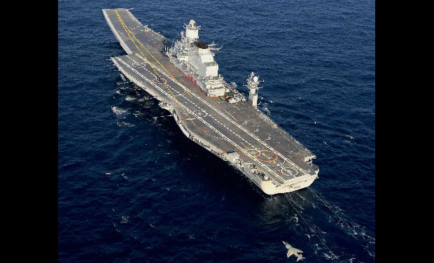 India's biggest ship, aircraft carrier INS Vikramaditya, which was acquired from Russia in November, has finally arrived in the Indian Navy's Area of Operation in the Arabian Sea in Mumbai, on Monday - PTI