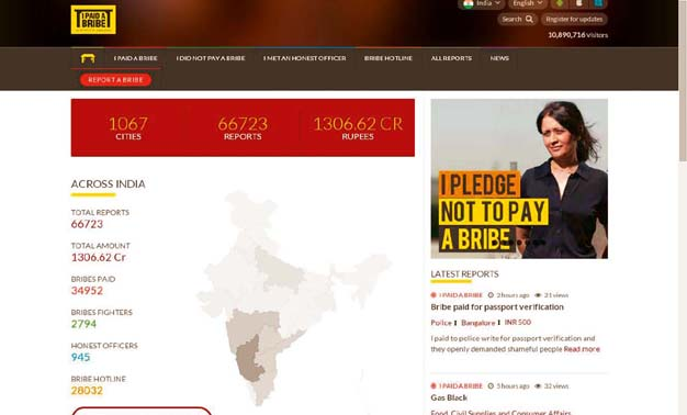 IPaidABribe.com, Bengaluru, uses a crowd-sourcing model to collect bribe reports