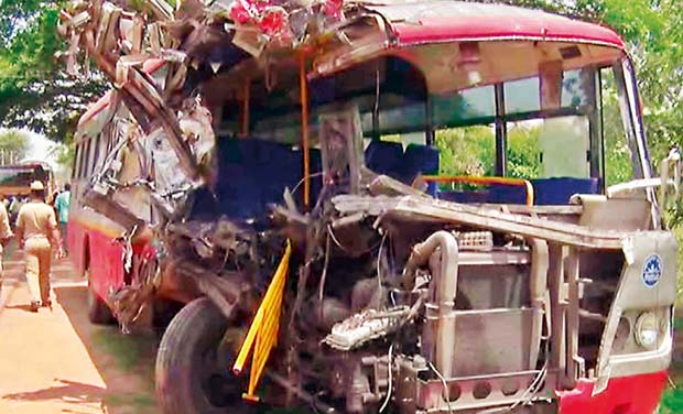 Bengaluru: KSRTC bus-lorry crash kills one