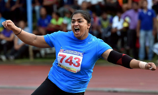 This was Manpreet Kaur's hat-trick of gold medals at the National Open and sixth overall as she also got past the Olympics qualification mark of 17.80m. (Photo: PTI)