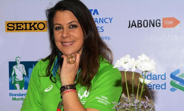 Former international tennis player Marion Bartoli - the event ambassador for Mumbai Marathon 2015  - in Mumbai on Wednesday (Photo: DC)