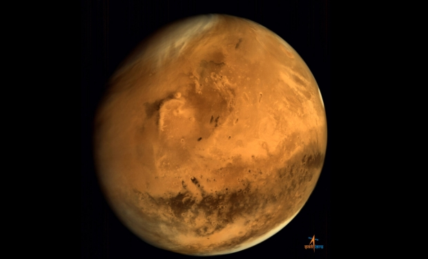 A full-disc Photo of Mars released by ISRO's Mangalyaan spacecraft (Photo Credit: ISRO)