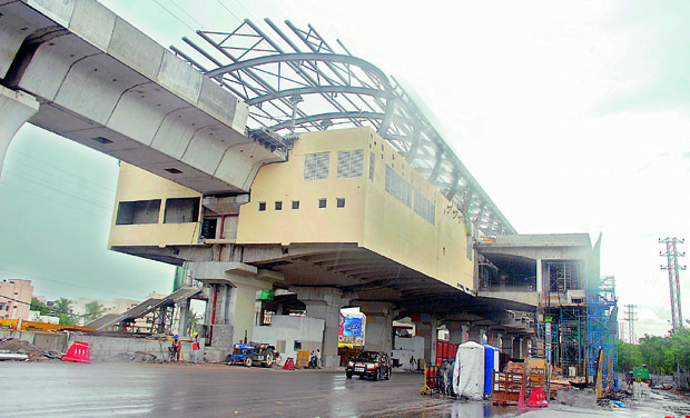 File picture of Metro Rail work underway in Hyderabad.