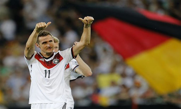 Miroslav Klose became Germany's all-time top-scorer on Friday when he netted his 69th goal in his 132nd appearance in their 6-1 friendly thrashing of Armenia. Photo: AP