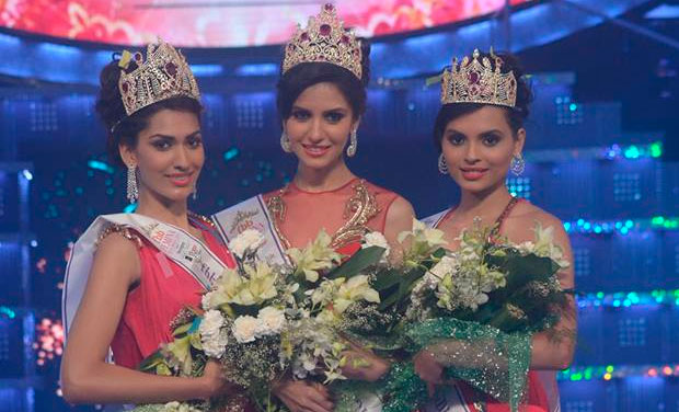 (From left to right) Miss India 2014 1st runner-up, Jhataleka Malhotra, Miss India 2014 winner, Koyal Rana, and Miss India 2014 2nd runner-up, Gail Nicole Da Silva. Photo courtesy: Facebook