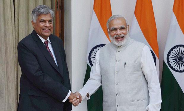 Prime Minister Narendra Modi and his Sri Lankan counterpart Ranil Wickremesinghe. (Photo: PTI)