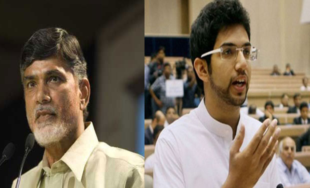 Andhra Pradesh Chief Minister Chandrababu Naidu and Shiv Sena's youth leader Aditya Thackeray. (Photo: PTI)