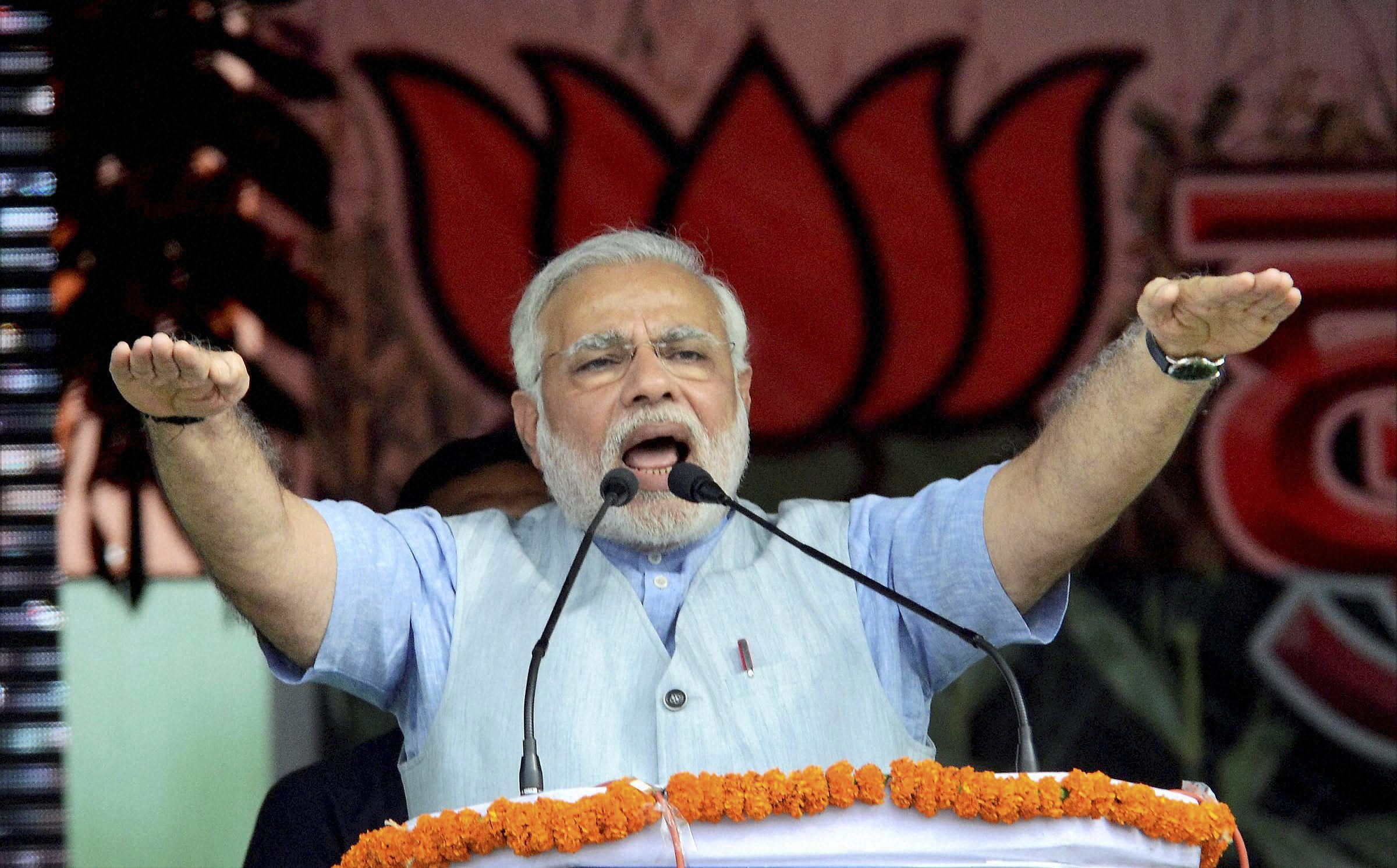Narendra Modi addresses a rally in Purnea (Photo - PTI)