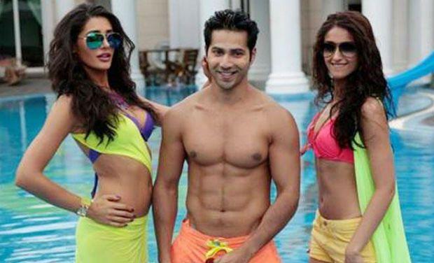 Varun Dhawan (centre) with his leading ladies Nargis Fakhri (left) and Ileana D'Cruz in the film 'Main Tera Hero'.