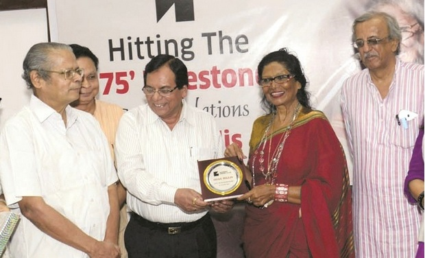 To celebrate her 50 years into mainstream journalism, a felicitation ceremony was held at the Mumbai Press Club on August 12, 2015
