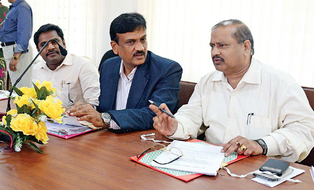 Chairman D. Selvam and members of Bar Council of Tamil Nadu and Puducherry take part in the council meeting in the city on Thursday. (Photo: DC)