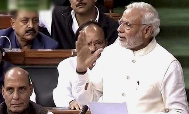 Prime Minister Narendra Modi speaks in Lok Sabha during the second day of winter session of Parliament in New Delhi. (Photo: PTI)