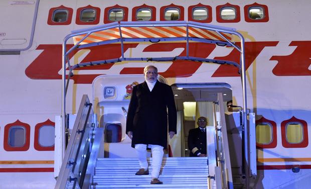 Prime Minister Narendra Modi upon his arrival at Charles de Gaulle Airport in Paris (Photo: PTI)