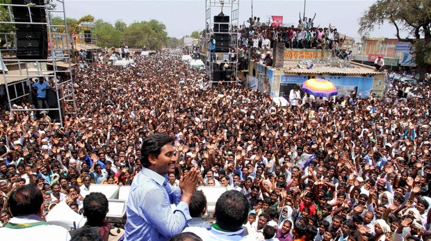 Jaganmohan Reddy during a road show. (Photo: PTI)