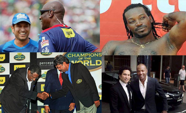 Legends in one frame (top left to right): Sachin Tendulkar shares a word with Sir Viv Richards, Chris Gayle flaunting his physique; Kapil Dev and Clive Lloyd - the captains of the 1983 World Cup finalists, Sachin Tendulkar and Brian Lara meet in