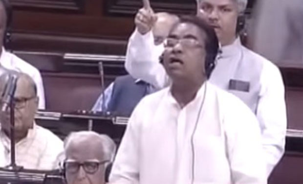 Waving placards in Rajya Sabha that read 'Implement Special Status' to AP, J D Seelam raised the issue. (Photo: Screengrab)