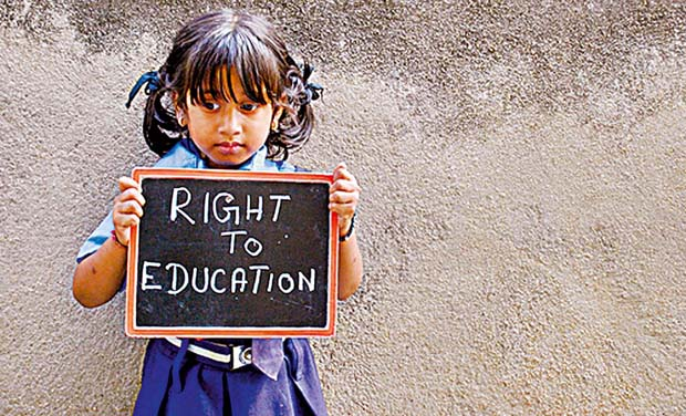 The children and their parents say that as per the RTE act, schools should distribute text books, uniforms, shoes etc. free of cost