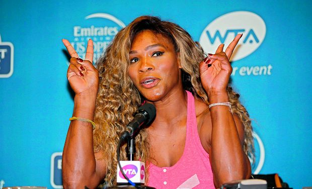 Serena Williams speaks to the media at a press conference during Day One of the Bank of the West Classic at the Taube Family Tennis Stadium on Sunday in Stanford. (Photo: AFP)