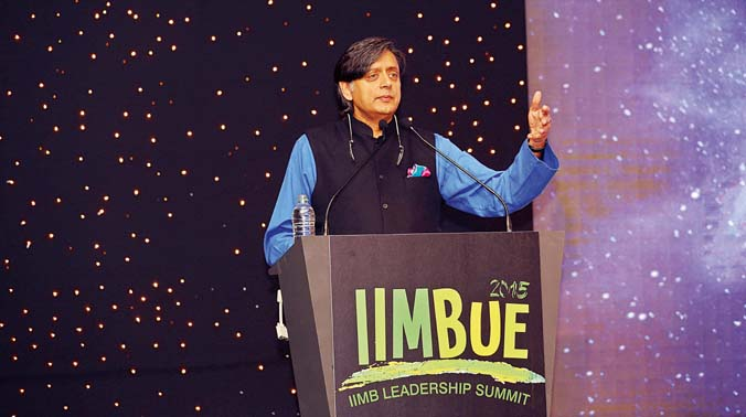 Dr Shashi Tharoor, Member of Parliament, delivers the keynote address at IIM-Bengaluru