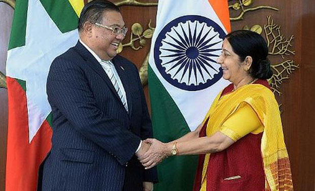 External Affairs Minister Sushma Swaraj and her Myanmarese counterpart Wunna Maung Lwin. (Photo: Twitter)