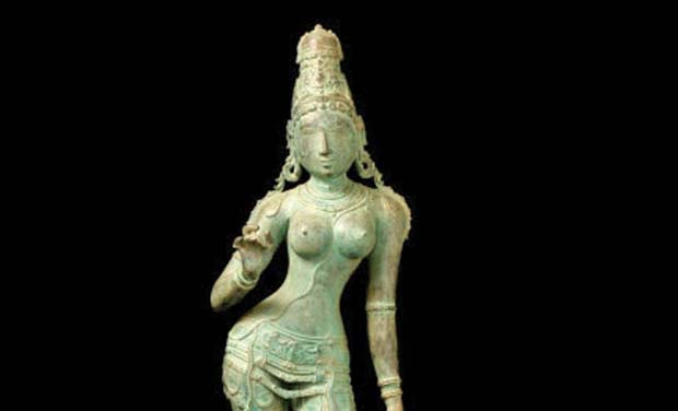 9th century idol of Goddess Uma Maheswari, originally from Sripuranthan temple in Ariyalur district