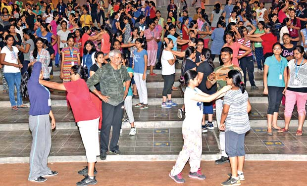 S. Sreeram watches students learning the Israeli system of self-defence that began on Saturday. (Photo: DC)