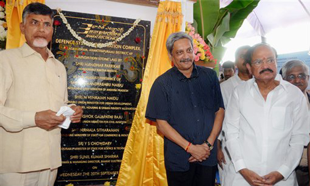 Defence Minister Manohar Parikkar and Parliamentry Affairs Minister Venkaiah Naidu and AP CM Chandrababu Naidu during the foundation stone laying for the Defence Systems Integration Complex of Bharat Electronics Ltd (BEL) at the Palasamudram,