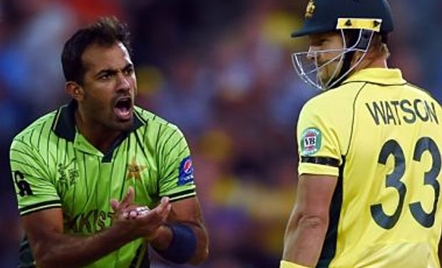 Wahab Riaz's left-arm pace rattled the Australian batting order but a sitter being dropped off his bowling by Rahat Ali allowed the momentum to slip away as Australia managed a six-wicket win in the quarterfinal clash. (Photo: AFP)