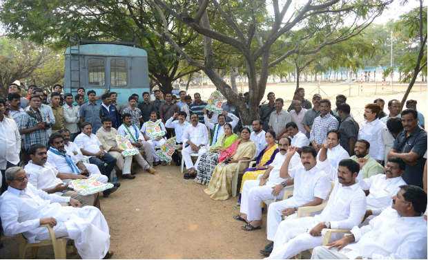YSR Congress MLAs, who were forcibly evicted from the AP Assembly, sit together.