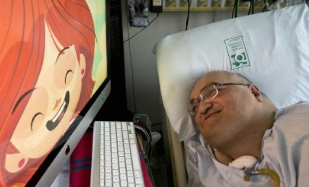 Paulo Henrique Machado, who lives connected to an artificial respirator at Sao Paulo's Hospital de Clinicas, is the creator of the animated cartoon series