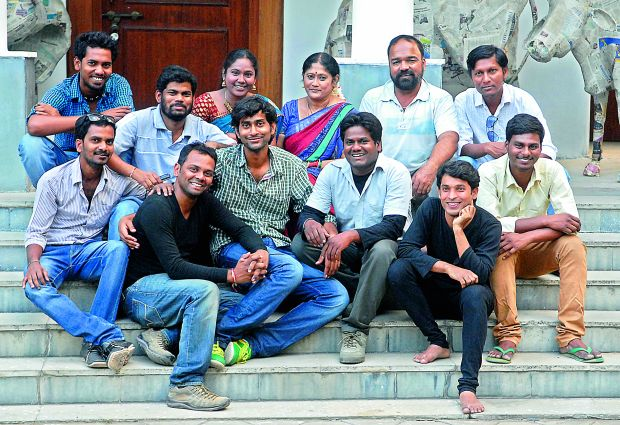 All smiles: The cast and crew of the play Amma Cheppina Katha which was performed on Thursday