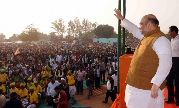 BJP National President Amit Shah addresses an election rally in support of All Jharkhand Students Union candidate Vikash Singh Munda in Bundu near Ranchi (Photo: PTI)