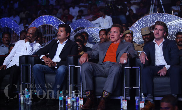 Rajinikanth and Arnold at the music launch of 'I'