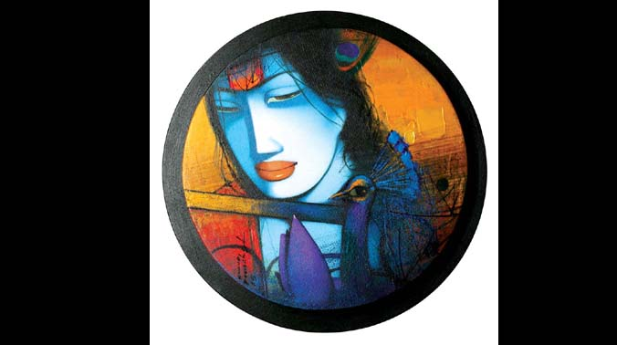 Sachin Jaltare's semi-abstract works are rooted in Indian mythology.