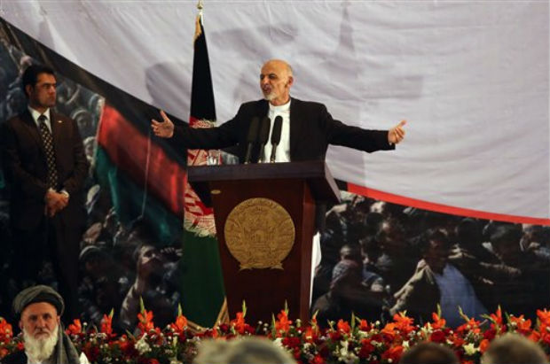 Afghan president-elect Ashraf Ghani Ahmadzai speaks during his first public appearance since winning the election runoff in Kabul, Afghanistan, Monday, Sept. 22, 2014, Afghanistan's new president-elect says he wants Afghan women represented at the