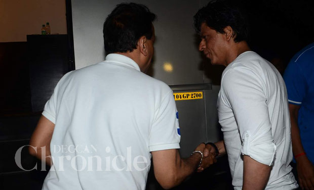 The two were then seen hugging it out before Khan left for a promotional event.