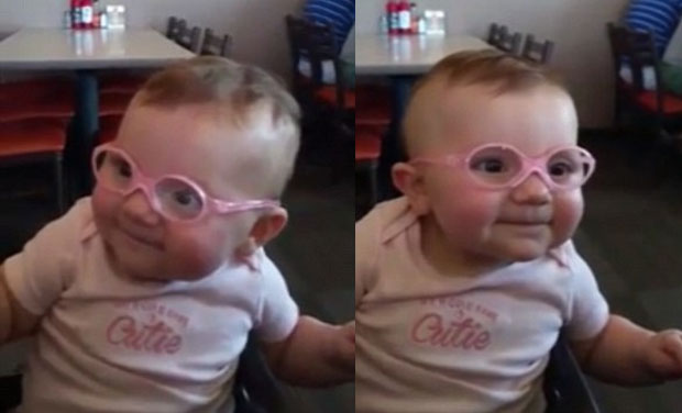 938b2012aaae Watch  Heartwarming moment baby sees parents clearly for first time
