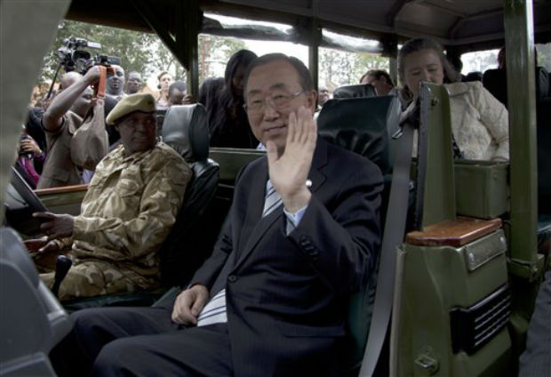 United Nations Secretary General Ban Ki-moon waves as he takes a drive in Nairobi National Park, during his visit to the Nairobi Animal Orphanage in Nairobi, Kenya, on Saturday. (Photo: AP)